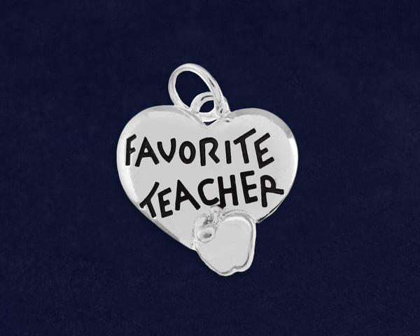 10 Favorite Teacher Heart Charms (10 Charms)