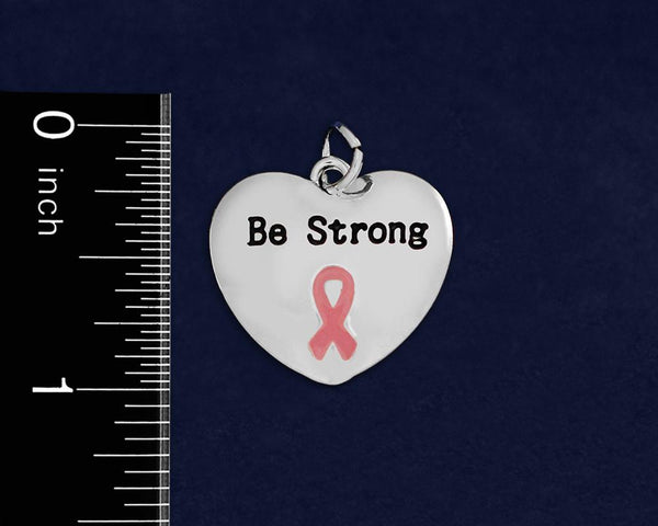 12 Be Strong Pink Ribbon Necklaces (12 Necklaces)