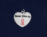 25 Never Give Up Pink Ribbon Charms (25 Charms)