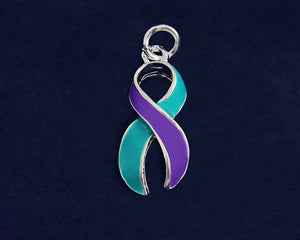 Large Teal and Purple Ribbon Charms, Awareness Jewelry - Fundraising For A Cause