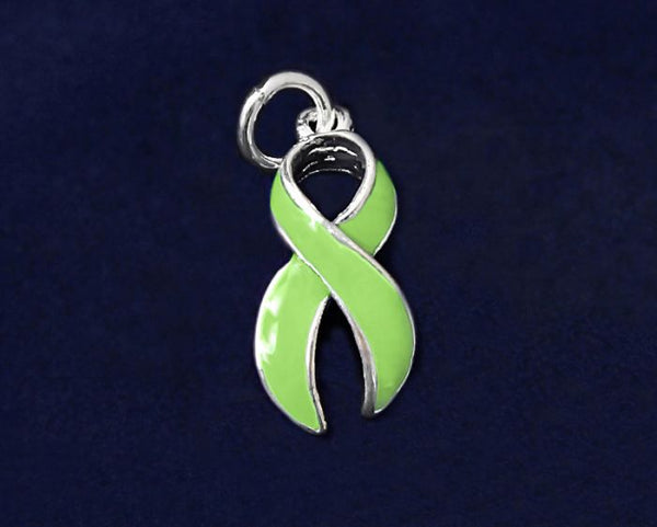 25 Large Light Green Ribbon Charms (25 Charms)