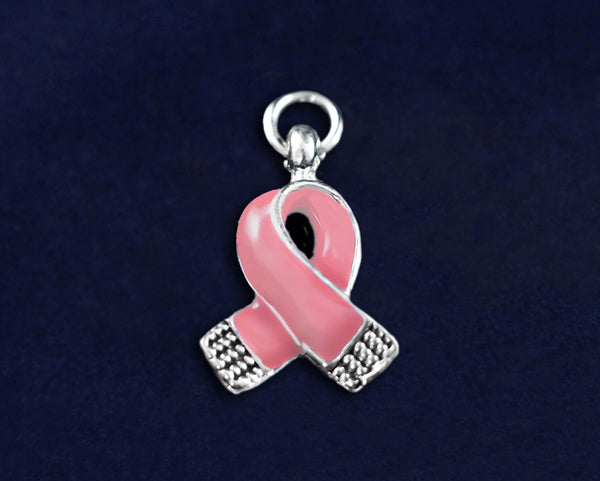 25 Small Pink Ribbon Charms (25 Charms)
