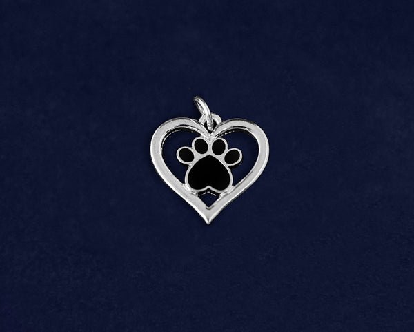 25 Heart with Black Paw Print Charms (25 Charms)