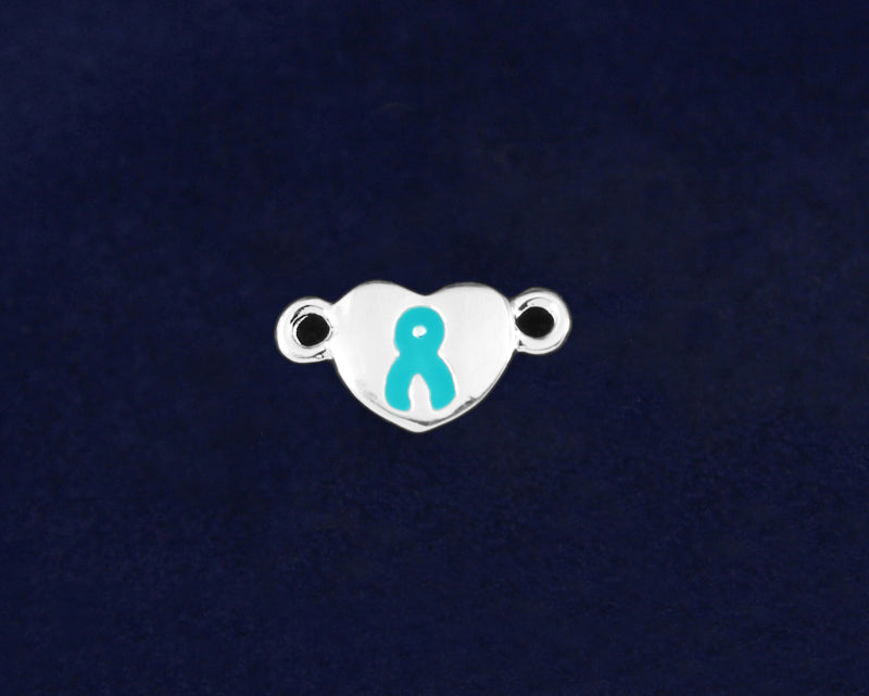 10 Silver Heart Teal Ribbon Charms (10 Charms) - fundraisingforacausecom