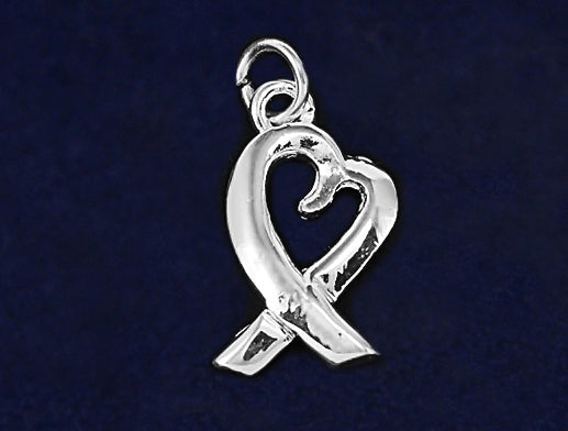 Silver Heart Ribbon Charms - Fundraising For A Cause