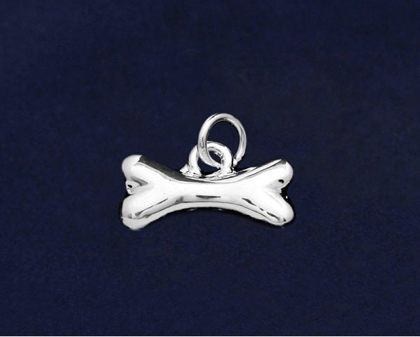 Pack of 25 Silver Bone Shaped Charms (25 Charms)