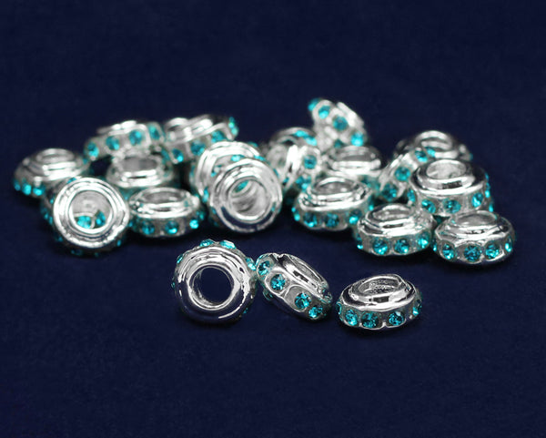 50 Teal Crystal Accent Charms (50 Charms)