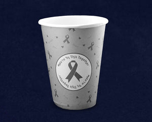 Gray Ribbon Hot/Cold Beverage Cups, Brain Cancer Awareness Paper Cups - Fundraising For A Cause