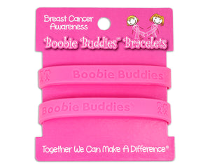 Boobie Buddies Pink Silicone Bracelets on Display Card (1 Card with 2 Bracelets)