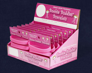 Boobie Buddies Breast Cancer Awareness Bracelet Counter Display (12 Cards)