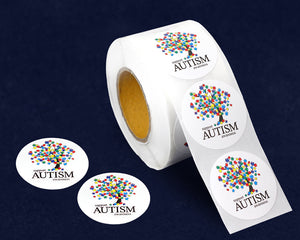 500 Support Autism Awareness Tree Stickers (500 Autism Stickers)