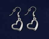 12 Pairs Silver Open Heart Hanging Earrings (12 Pairs)