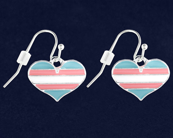 12 Pairs Transgender Heart Pride Hanging Earrings (12 Pride Earrings)