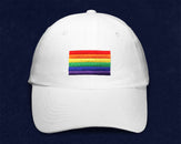 12 Rectangle Rainbow Gay Pride Flag Hats in White (12 Hats)