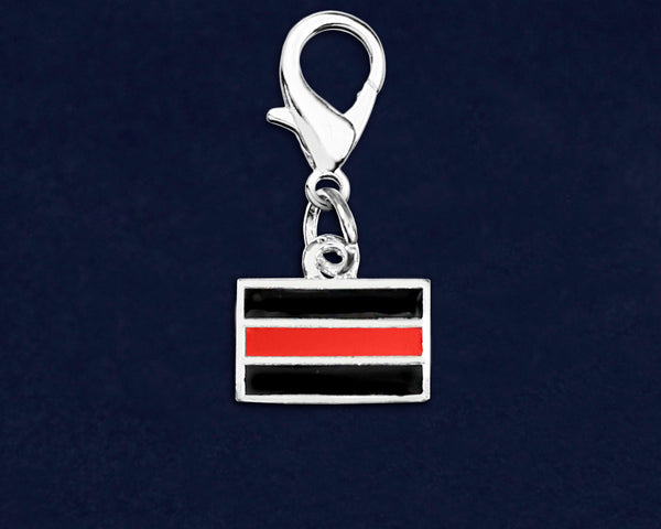 25 Firefighter Rectangle Red Line Hanging Charms (25 Charms)