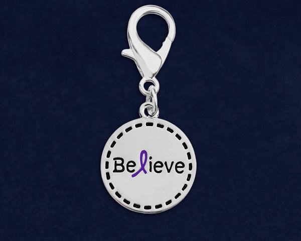 25 Round Believe Purple Ribbon Hanging Charms (25 Charms)