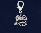 25 Cheerleading Heart Hanging Charms (25 Charms)