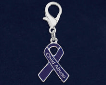Load image into Gallery viewer, Child Abuse Dark Blue Ribbon Hanging Charms - Fundraising For A Cause