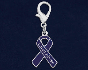 Child Abuse Dark Blue Ribbon Hanging Charms - Fundraising For A Cause