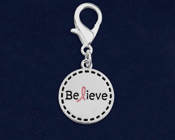 25 Round Believe Pink Ribbon Hanging Charms (25 Charms)