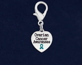 25 Ovarian Cancer Awareness Heart Hanging Charms (25 Charms)