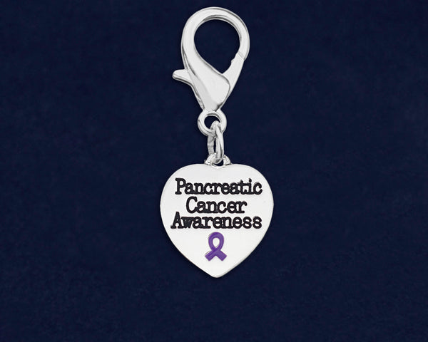 25 Pancreatic Cancer Awareness Heart Hanging Charms (25 Charms)