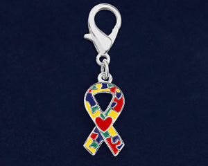 Autism Ribbon with Heart Hanging Charms - Fundraising For A Cause