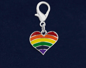 Rainbow Heart Gay Pride Hanging Charms