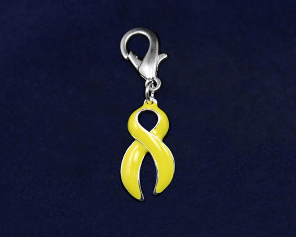 25 Large Yellow Ribbon Hanging Charms (25 Charms)
