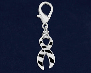 Large Black & White Zebra Print Ribbon Hanging Charms - Fundraising For A Cause