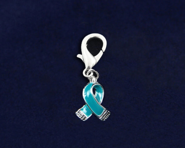 25 Small Teal Ribbon Hanging Charms (25 Charms)