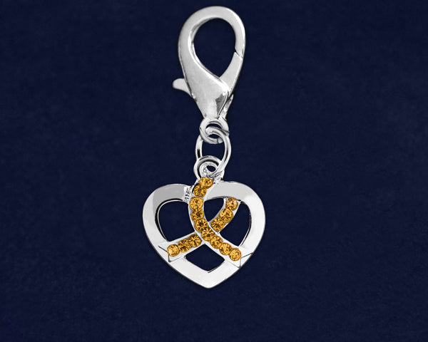 25 Silver Heart Crystal Gold Ribbon Hanging Charms (25 Charms)