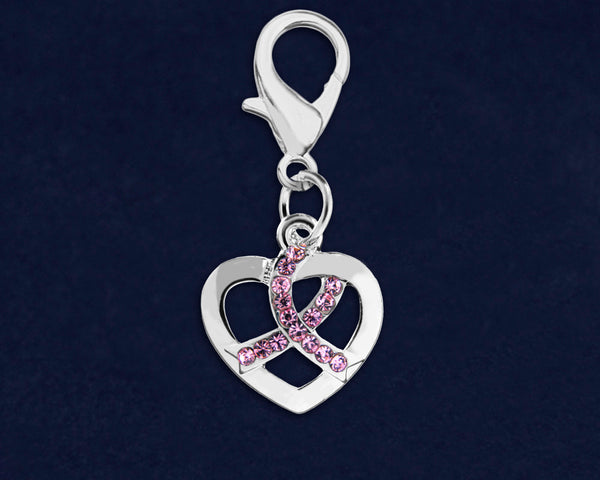 25 Silver Heart Crystal Pink Ribbon Hanging Charms (25 Charms)