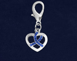 Silver Heart Crystal Dark Blue Ribbon Hanging Charms - Fundraising For A Cause