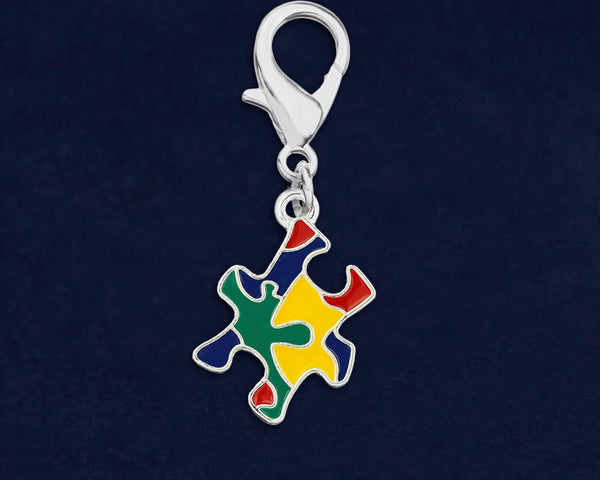 25 Autism Colored Puzzle Piece Hanging Charms (25 Autism Charms)