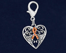 Load image into Gallery viewer, Decorative Heart Orange Ribbon Hanging Charms - Fundraising For A Cause