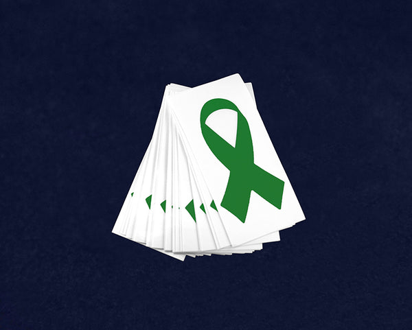 25 Small Green Ribbon Decals (25 Decals)