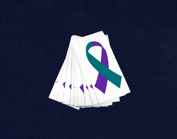 25 Small Teal & Purple Ribbon Decals (25 Decals)