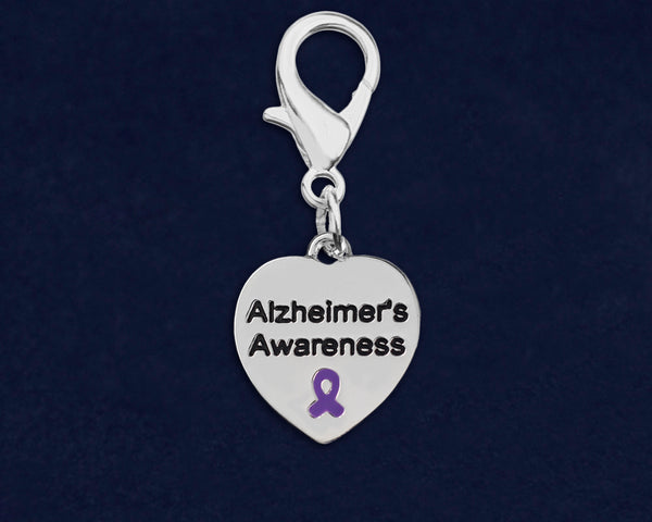 25 Alzheimer's Awareness Heart Hanging Charms (25 Charms)
