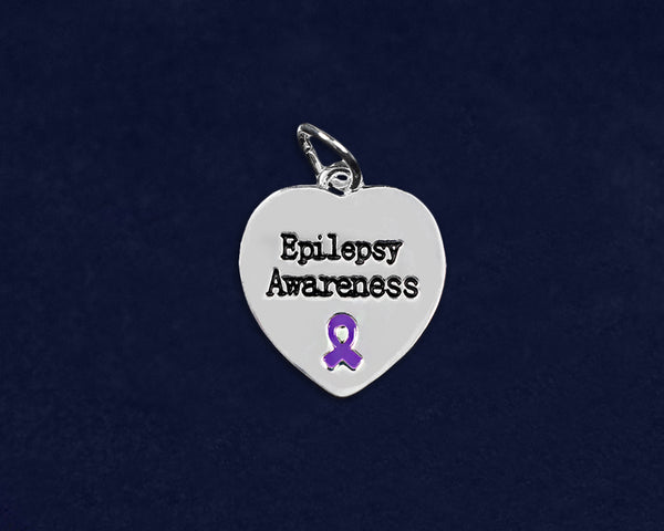 25 Epilepsy Awareness Heart Charms (25 Charms)