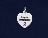 20 Lupus Awareness Heart Charms (20 Charms)