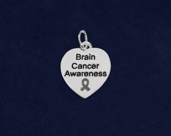 25 Brain Cancer Awareness Heart Charms (25 Charms)