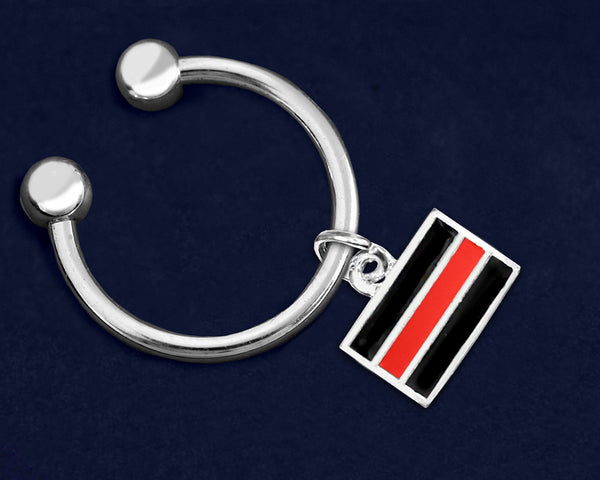 12 Firefighter Red Line Key Chains (12 Key Chains)