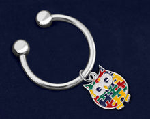 Load image into Gallery viewer, Autism Owl Puzzle Piece Key Chains - Fundraising For A Cause