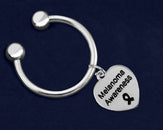 24 Melanoma Awareness Heart Key Chains (24 Key Chains)
