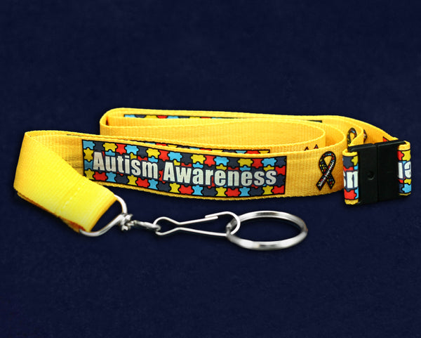 25 Bulk Breakaway Autism Awareness Lanyards (25 Autism Lanyards)