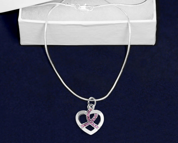 12 Silver Heart Crystal Pink Ribbon Necklaces (12 Necklaces)