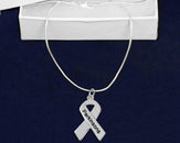 12 Parkinson's Disease Silver Ribbon Necklaces (12 Necklaces)