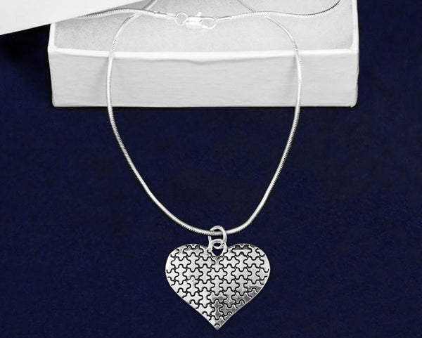 12 Autism Puzzle Piece Heart Necklaces (12 Autism Necklaces)