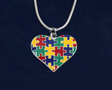 12 Autism Colored Puzzle Piece Heart Necklaces (12 Autism Necklaces)